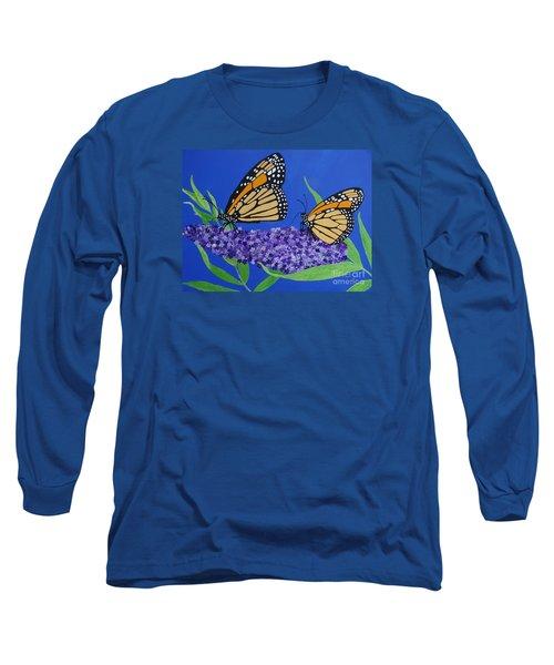 Monarch Butterflies On Buddleia Flower Long Sleeve T-Shirt