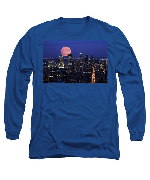Long Sleeve T-Shirt featuring the photograph Montreal Supermoon by Mircea Costina Photography