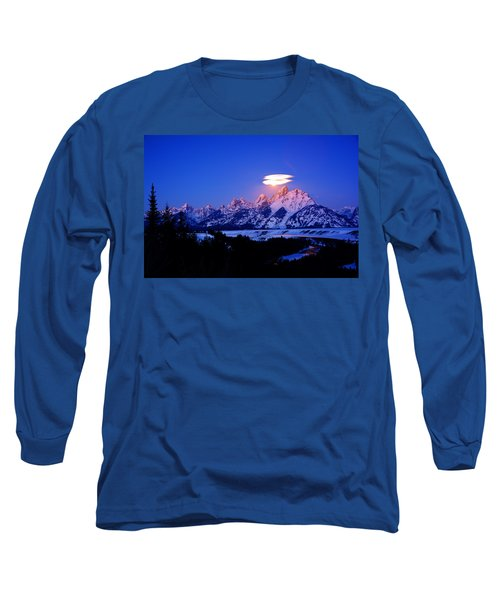Moon Sets At The Snake River Overlook In The Tetons Long Sleeve T-Shirt by Raymond Salani III