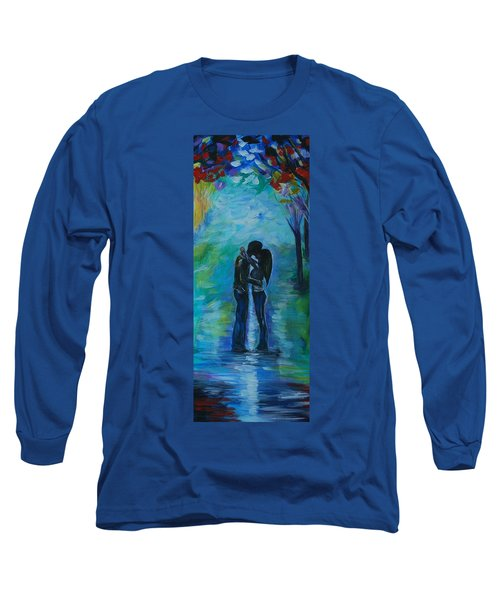 Long Sleeve T-Shirt featuring the painting Moonlight Kiss Series 1 by Leslie Allen