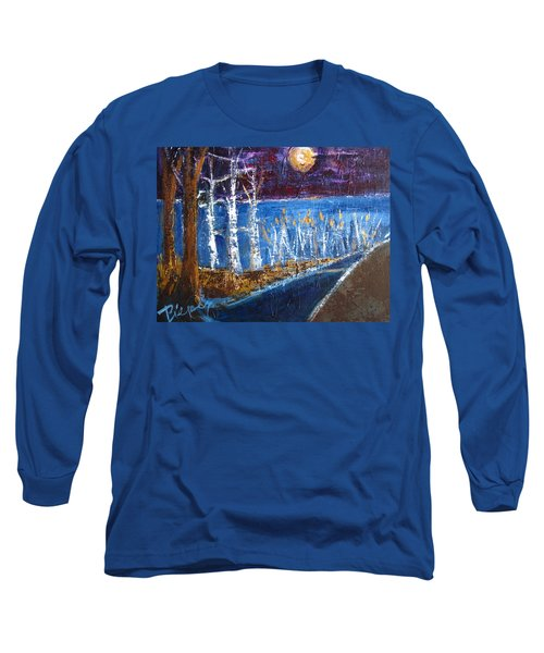 Long Sleeve T-Shirt featuring the painting Moonlight On Path To Beach by Betty Pieper