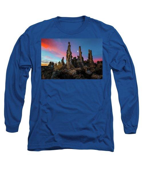 Moonset Over Mono Lake Long Sleeve T-Shirt