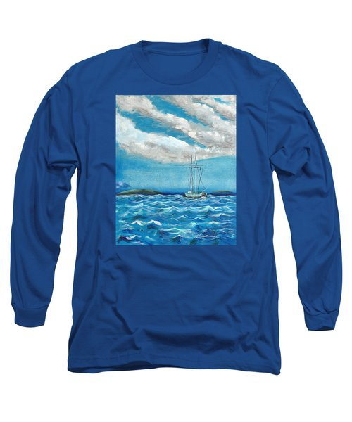 Moored In The Bay Long Sleeve T-Shirt by J R Seymour