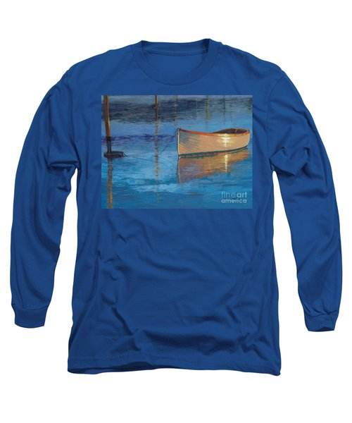 Long Sleeve T-Shirt featuring the painting Moored In Light-sold by Nancy Parsons