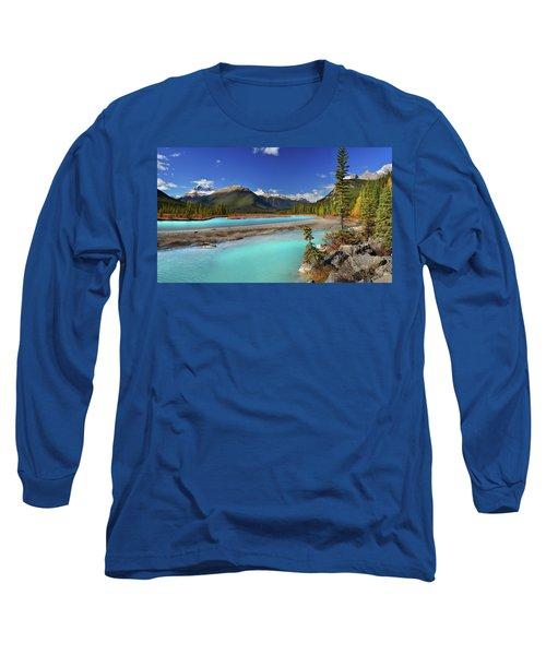 Mount Saskatchewan Long Sleeve T-Shirt by John Poon