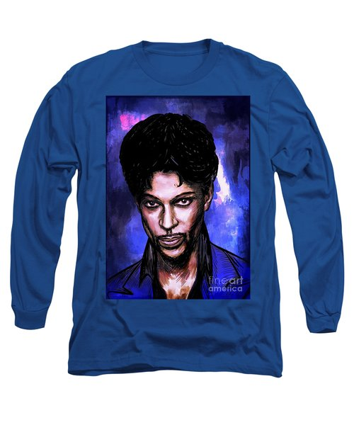 Long Sleeve T-Shirt featuring the painting Music Legend  Prince by Andrzej Szczerski