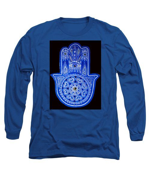 Long Sleeve T-Shirt featuring the painting My Blue Hamsa by Patricia Arroyo