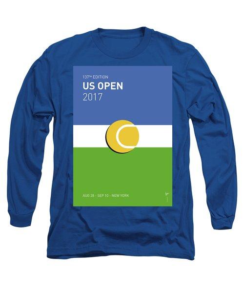 Long Sleeve T-Shirt featuring the digital art My Grand Slam 04 Us Open 2017 Minimal Poster by Chungkong Art