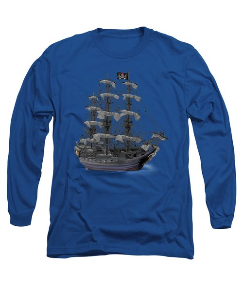 Mystical Moonlit Pirate Ship Long Sleeve T-Shirt by Glenn Holbrook