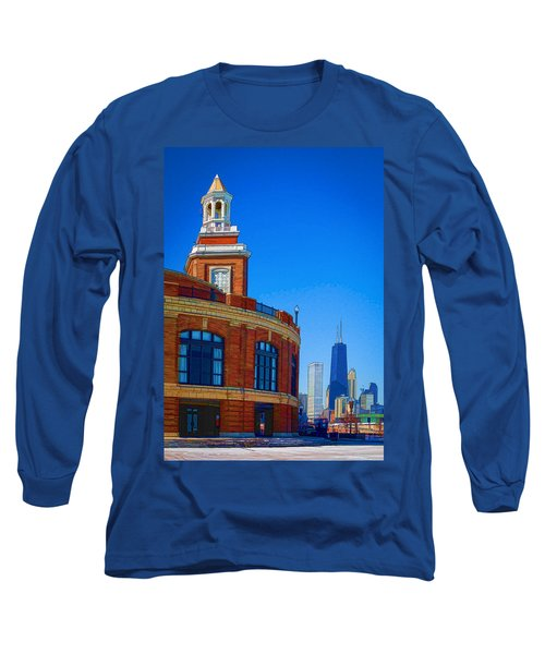 Navy Pier With Texture Long Sleeve T-Shirt