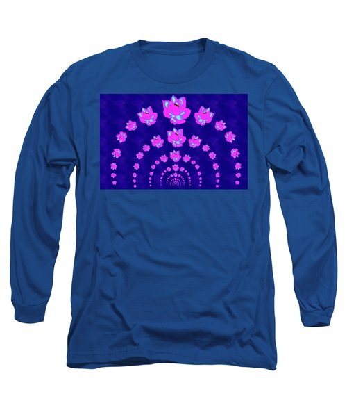Neon Pink Lotus Arch Long Sleeve T-Shirt by Samantha Thome