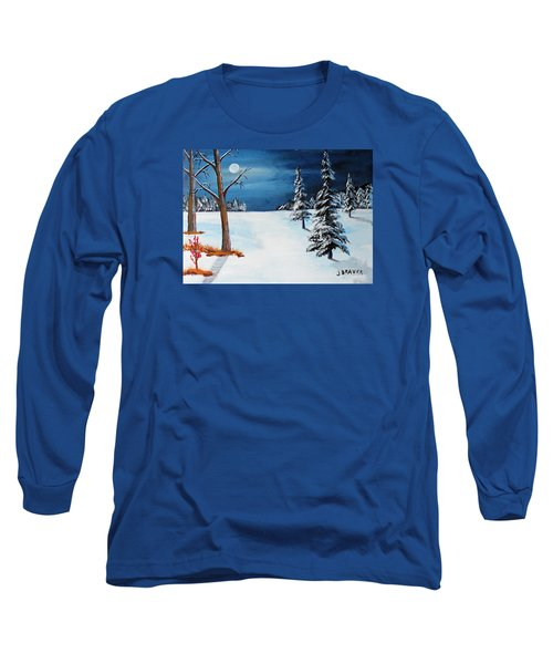 Long Sleeve T-Shirt featuring the painting New Moon New Snow by Jack G Brauer