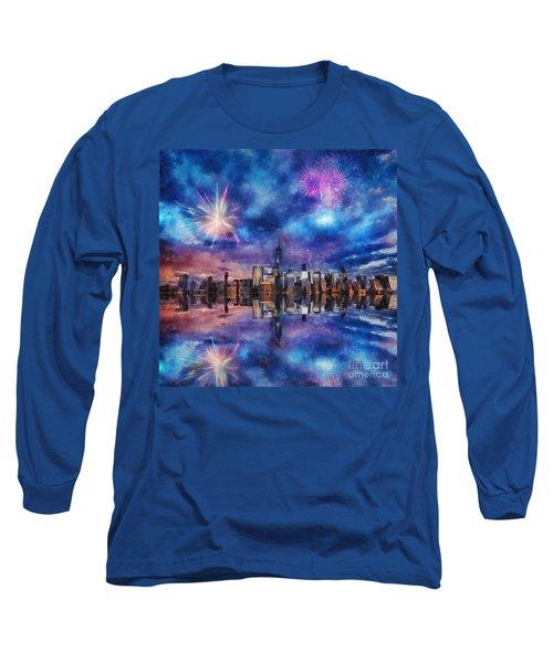 New York Fireworks Long Sleeve T-Shirt by Ian Mitchell