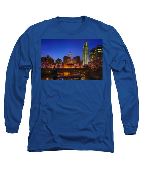 Night Cityscape - 2 - Omaha - Nebraska Long Sleeve T-Shirt