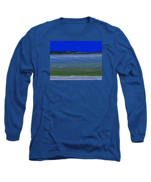 Long Sleeve T-Shirt featuring the digital art No Moon Night Sea by Dr Loifer Vladimir