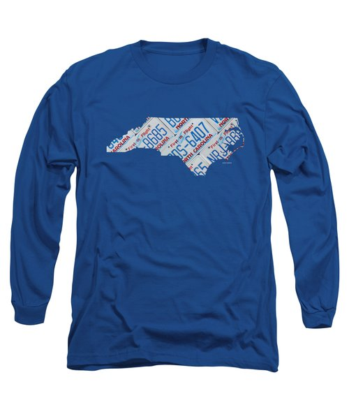 North Carolina Vintage Recycled License Plate Map On Blue Wood Plank Background Long Sleeve T-Shirt