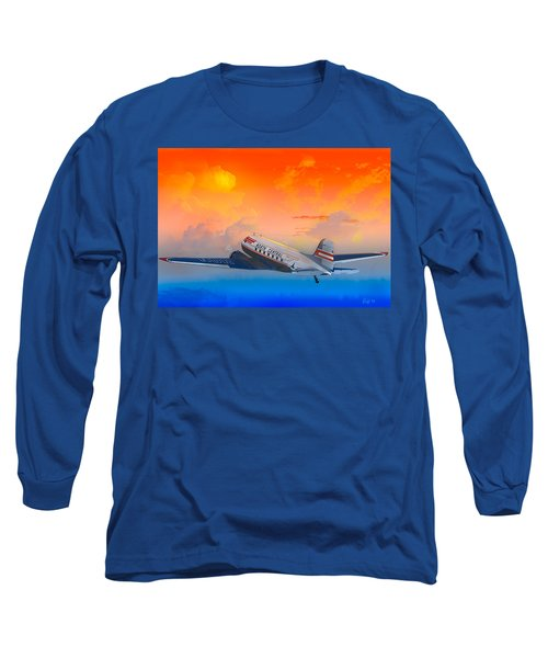 North Central Dc-3 At Sunrise Long Sleeve T-Shirt by J Griff Griffin