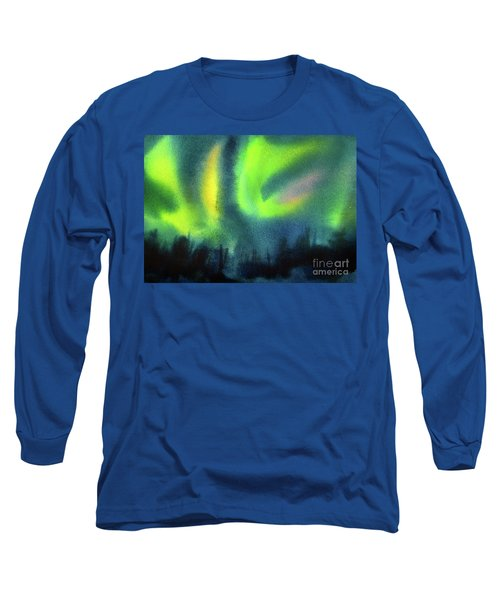 Long Sleeve T-Shirt featuring the painting Northern Lights 3 by Kathy Braud