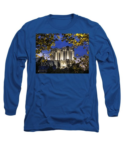 Long Sleeve T-Shirt featuring the photograph Notre Dame At Night Paris by Sally Ross