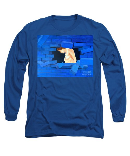 Nude Lady Through Exploding Wall Long Sleeve T-Shirt