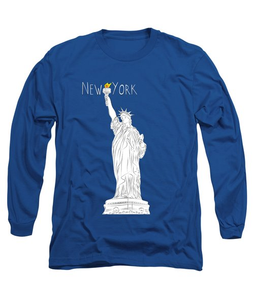 Ny Statue Of Liberty Line Art Long Sleeve T-Shirt by BONB Creative