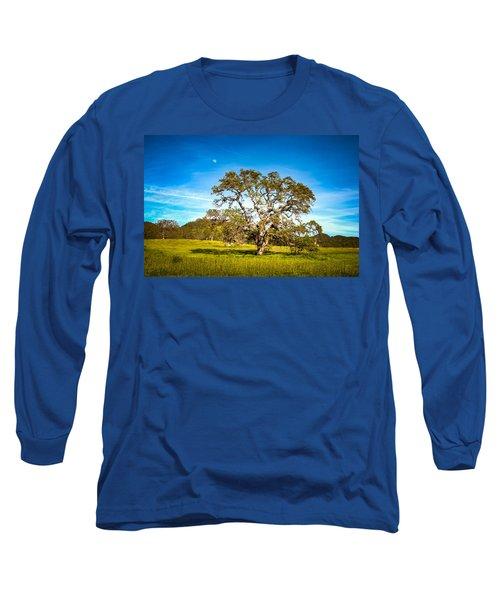 Oak Tree Green Meadow Moon Rising Long Sleeve T-Shirt