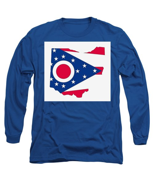 Ohio State Map With Flag Long Sleeve T-Shirt