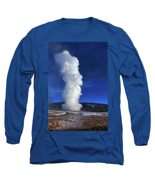 Old Faithful In Winter Long Sleeve T-Shirt