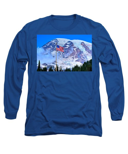 Old Glory At Mt. Rainier Long Sleeve T-Shirt