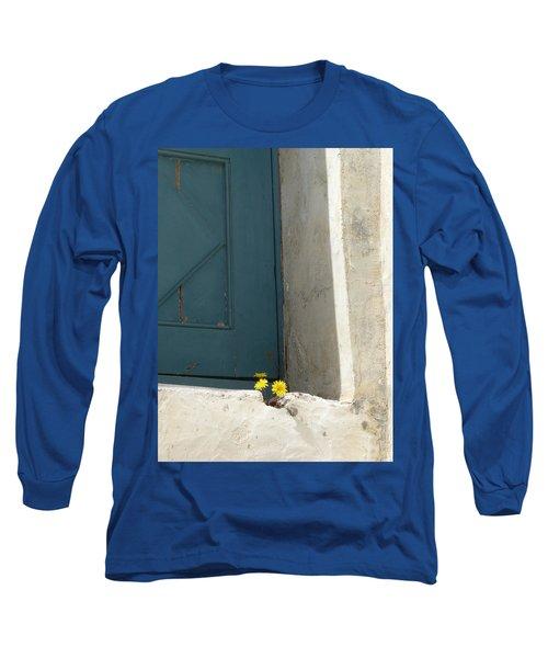 Old Greek Door Long Sleeve T-Shirt by Valerie Ornstein