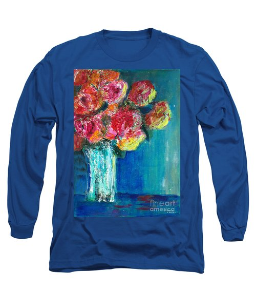 Old Roses Long Sleeve T-Shirt by Veronica Rickard