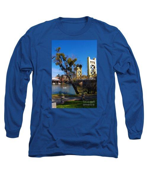 Old Sacramento Tower Bridge Long Sleeve T-Shirt by Debra Thompson