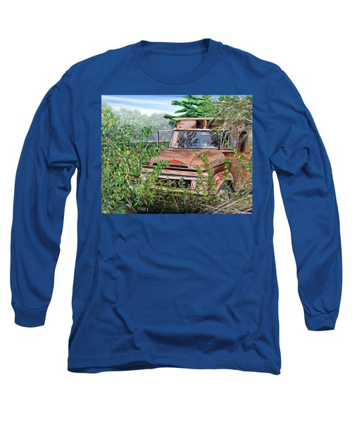 Long Sleeve T-Shirt featuring the painting Old Truck Rusting by Marilyn  McNish