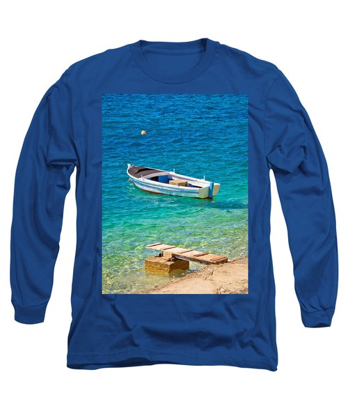 Old Wooden Fishermen Boat On Turquoise Beach Long Sleeve T-Shirt