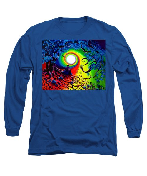 Om Tree Of Life Meditation Long Sleeve T-Shirt by Laura Iverson