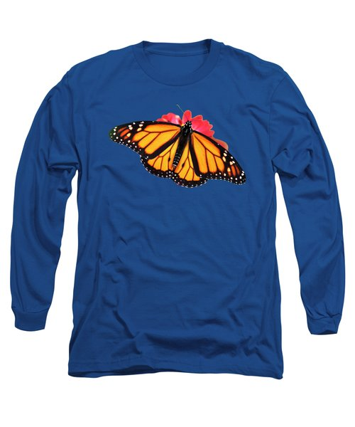 Long Sleeve T-Shirt featuring the photograph Orange Drift Monarch Butterfly by Christina Rollo