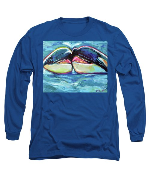 Long Sleeve T-Shirt featuring the painting Orca Valentine by Robert Phelps