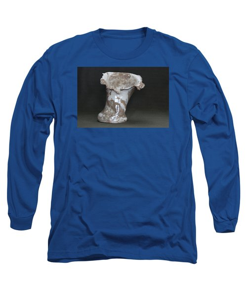 Organic Marbled Clay Ceramic Vase Long Sleeve T-Shirt by Suzanne Gaff