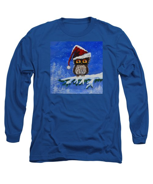 Long Sleeve T-Shirt featuring the painting Owl Be Home For Christmas by Agata Lindquist