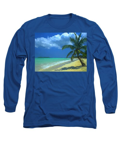 Long Sleeve T-Shirt featuring the painting Palm Beach In The Keys by David  Van Hulst