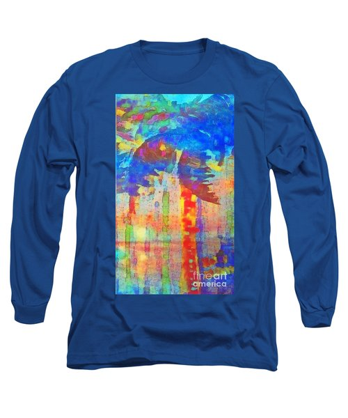 Long Sleeve T-Shirt featuring the painting Palm Party by Holly Martinson
