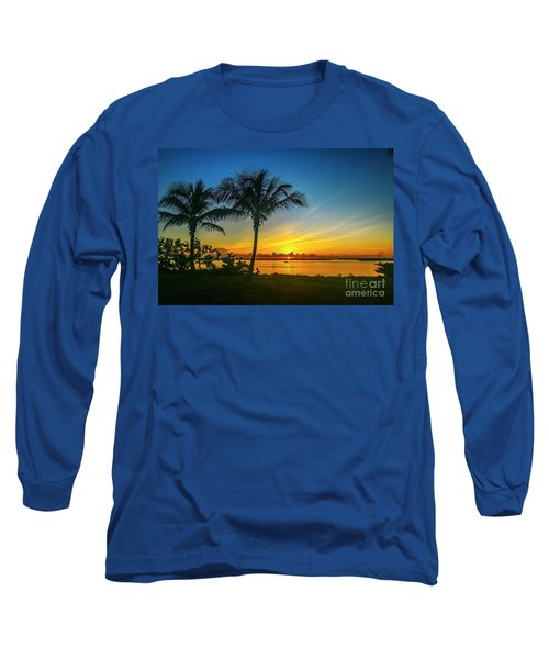 Palm Tree And Boat Sunrise Long Sleeve T-Shirt
