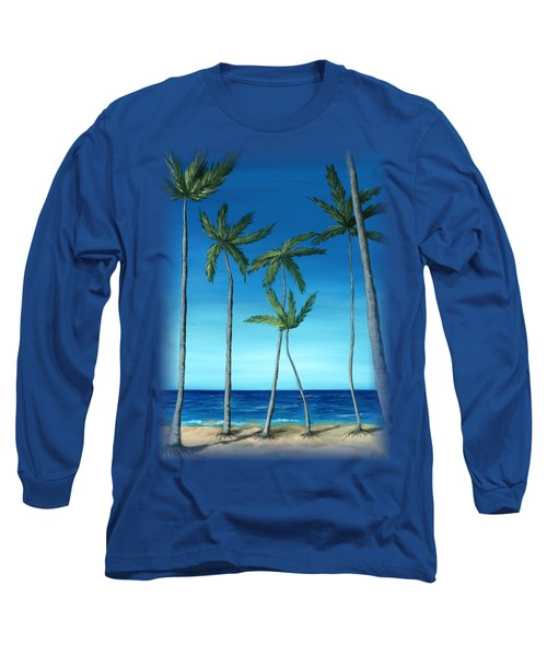 Palm Trees On Blue Long Sleeve T-Shirt by Anastasiya Malakhova