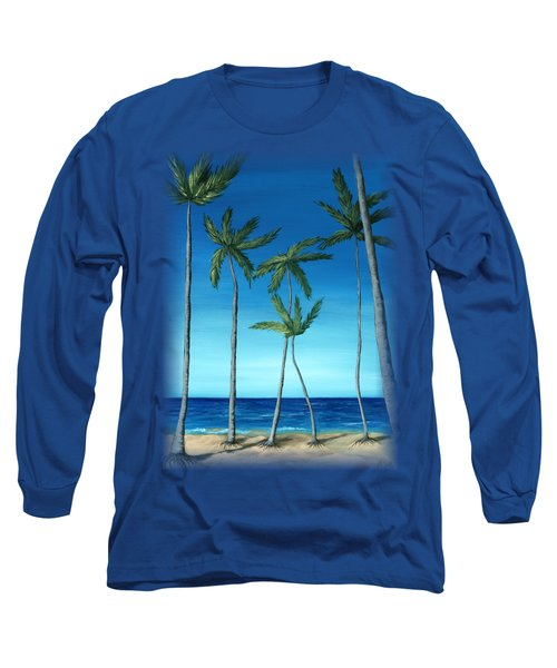 Palm Trees On Blue Long Sleeve T-Shirt