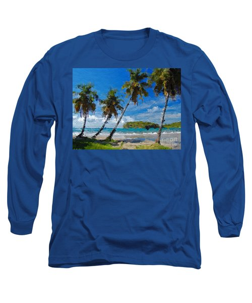 Palm Trees On Sandy Beach Long Sleeve T-Shirt by Anthony Fishburne