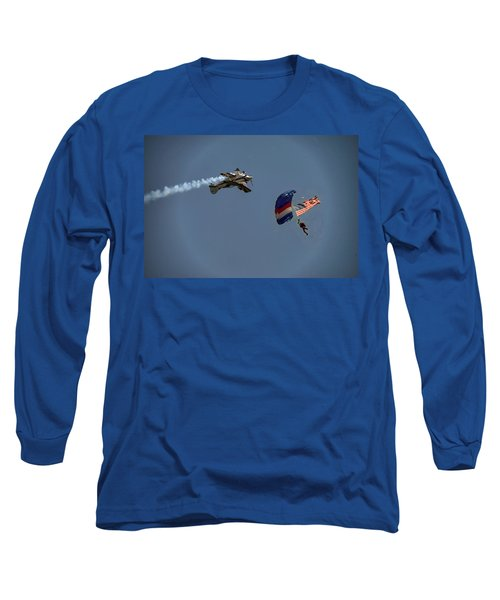 Paratrooper With Flag Long Sleeve T-Shirt