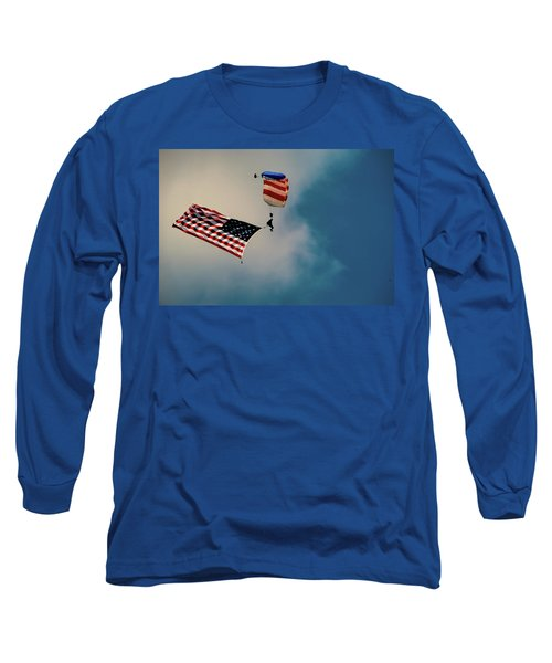 Paratrooper With Flag V2 Long Sleeve T-Shirt