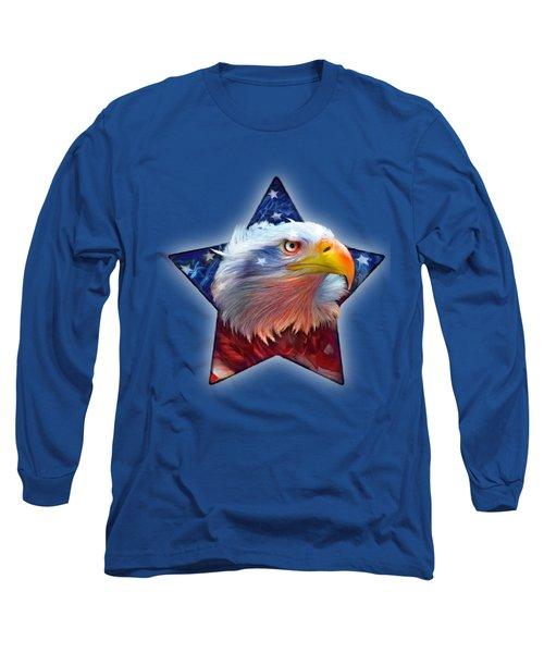Long Sleeve T-Shirt featuring the mixed media Patriotic Eagle Star by Carol Cavalaris