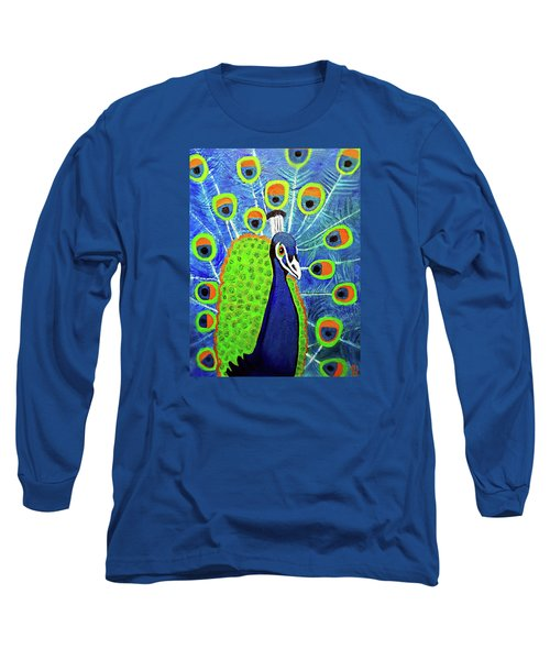 Peacock #3 Long Sleeve T-Shirt by Margaret Harmon
