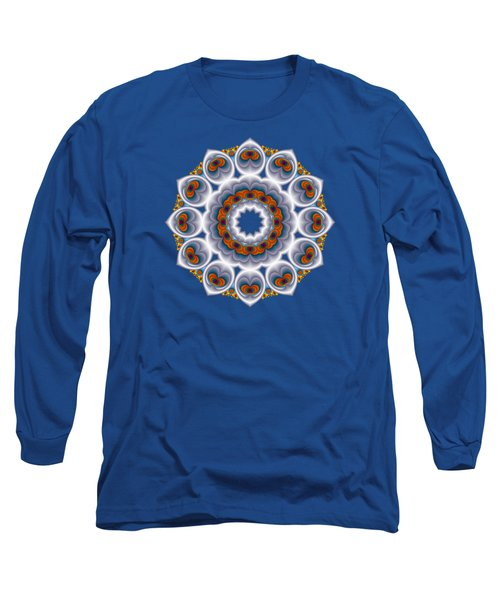 Peacock Fractal Snow Flower Long Sleeve T-Shirt